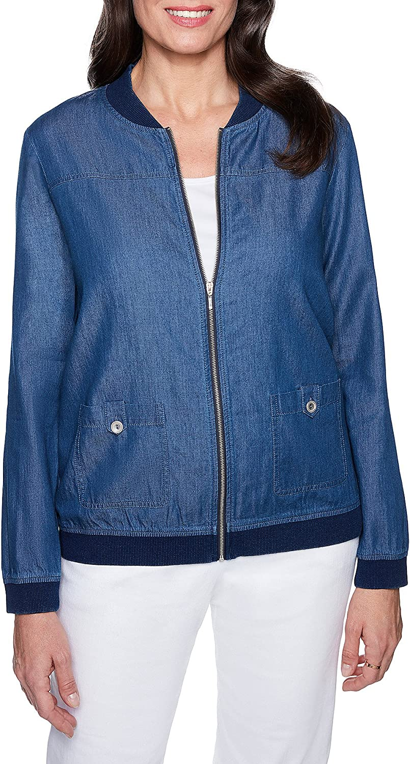 Alfred Dunner Womens Spring ZipFront Bomber Jacket