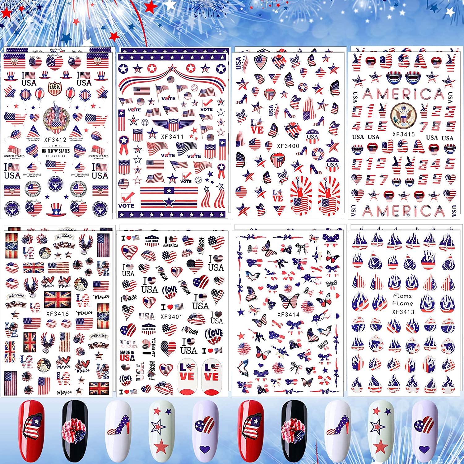 16 Sheets 4th of July Nail mart Independence Industry No. 1 Day St Stickers Art