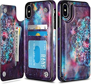 HianDier Wallet Case for iPhone Xs MAX, Slim Protective Case with Credit Card Slot Holder Flip Folio Soft PU Leather Magnetic Closure Cover Case Compatible with iPhone Xs MAX 6.5 Inches, Mandala