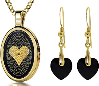 """Love Jewelry Set I Love You Necklace in 120 Languages 24k Gold Inscribed in Miniature Text on Oval Black Onyx Gemstone Pendant and Black Crystal Heart Dangle Earrings for Women, 18"""" Rolo Chain"""
