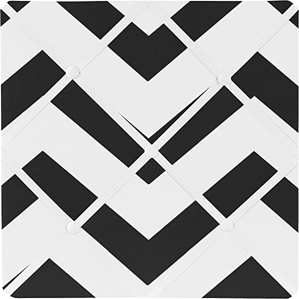 Sweet Jojo Designs Black And White Chevron Zig Zag Fabric Memory Memo Photo Bulletin Board