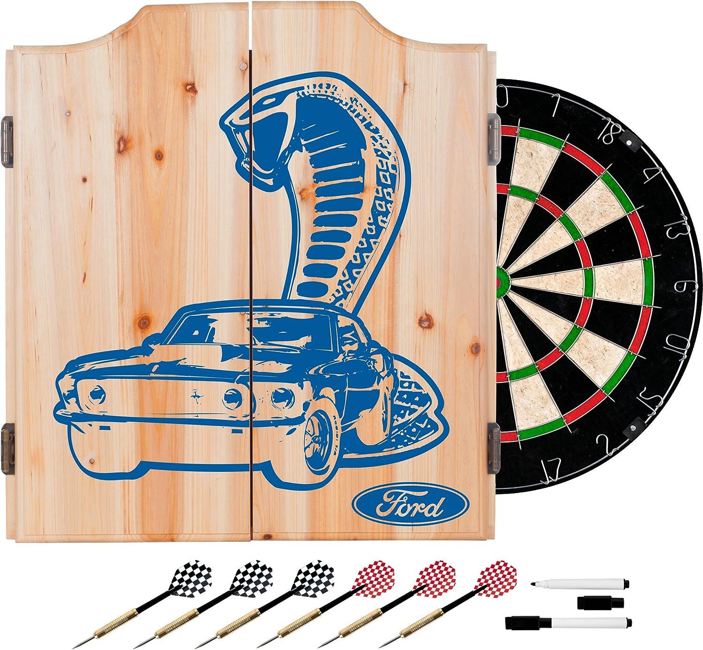 Trademark Gameroom Ford Dart Cabinet Set with Darts and Board  Cobra FD7010COBRA