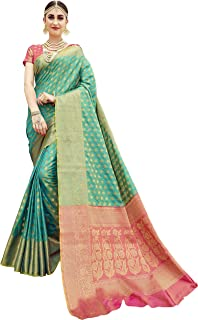 EthnicJunction Silk Saree with Blouse Piece (EJ1178-07977R_Green_Free Size)