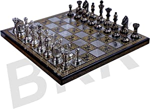 BRK HANDICRAFT Antique Chess Board Set Brass Collectible Game Board Handmade Large Pieces 10 X 10 Inches