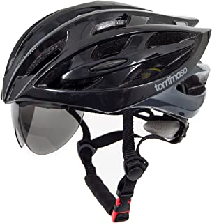 Tommaso Sole Lightweight Cycling Helmet Retractable Eye Shield Road & MTB Adjustable Fit 2 Sizes 4 Colors Black,Matte Black,White,Titanium Certified Safe Protection Men Women Youth