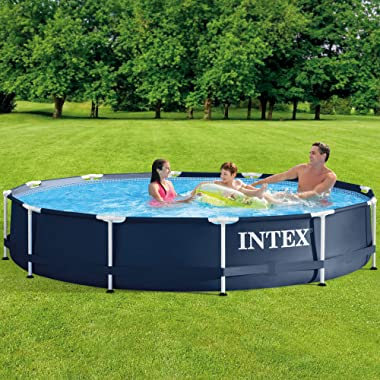 Intex 28211ST 12-foot x 30-inch Metal Frame Round 6 Person Outdoor Backyard Above Ground Swimming Pool with Krystal Klear Fil