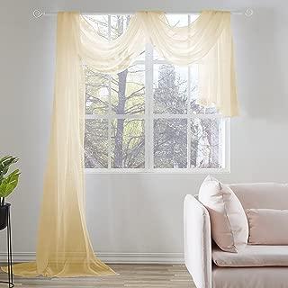 KEQIAOSUOCAI Cream Yellow Sheer Window Scarf 216 Inch Curtains Valance 52Wx216L