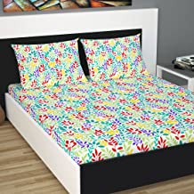 Divine Casa 100% Cotton Double Bed Sheet with 2 Pillow Covers 144 TC, Floral - Red & Turquoise