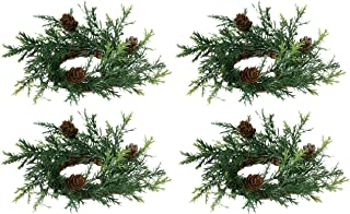 Set of 4 Holiday Candle Rings On Vine Base With Pine Cones and Greenery -Light Silver Glitter - 2 Inch Opening, 6 Inch Outside Diameter