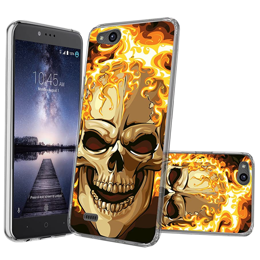 Clear MINITURTLE Case Compatible with ZTE Avid 4 | ZTE Tempo X | Blade Vantage (Z839)[Clear Case][Drop Protection] [Crystal Clear Flex Force Series] Flexible TPU Case - Red Flame Skull
