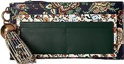 Floral Tassel Top Zip Wallet
