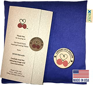 KOYA Naturals Heating Pad Microwavable - Ocean Blue Cherry Pit/Stone/Seed Pillow Heat Pack for Neck, Muscle, Joint, Stomach Pain, Menstrual Cramps - Warm Compress Neck Wrap - Moist Heat Therapy