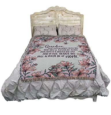 Grandma Keep This Blanket with You and You'll Never Be Alone - Cotton Woven Blanket Throw - Made in The USA (72x54)