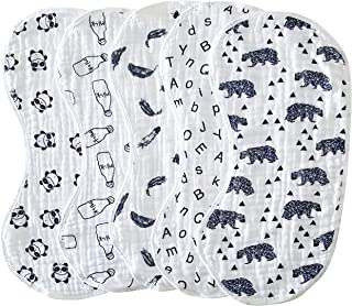 Muslin Burp Cloths Baby Burping Bibs 100% Natural Cotton 5-Pack Large 6 Layers Thick Soft Absorbent Cloth Spit Up Dribble Towels Rags for Newborns Baby Boy or Girl Unisex by ShoppeWatch BB28