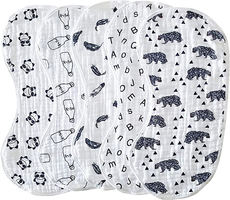 Muslin Burp Cloths Baby Burping Bibs 100 Organic Cotton 5 Pack Large 6 Layers Thick Soft Absorbent Cloth Spit Up Dribble Towels Rags For Newborns Baby Boy Or Girl Unisex By ShoppeWatch BB28