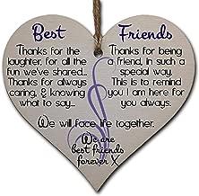 Handmade Wooden Hanging Heart Plaque Gift Perfect for your Best Friend Friendship Keepsake