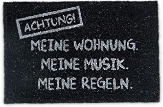 Relaxdays Natural Coconut Fibre Coir Doormat Meine WOHNUNG Funny German Welcome Mat w/ Anti-Slip Rubber PVC Underside, Black