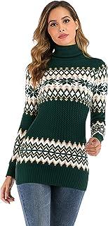 Sponsored Ad – Enjoyoself Women Christmas sweater Jumpers Snowflake Turtle Neck Ribbed Knit Xmas Jumper Knitwear Top