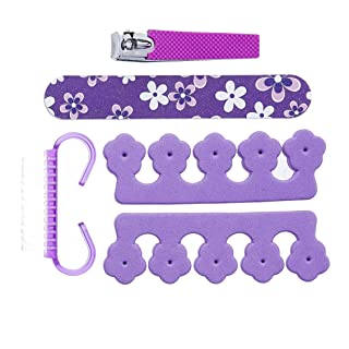 Amazon Brand - Solimo Manicure and Pedicure Kit with Nail File, Brush, Two Toe Separators and Nail Clipper, Purple, Pack of 5