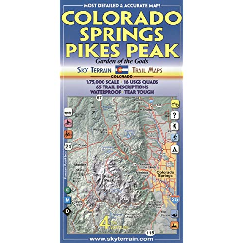 Garden Of The Gods Colorado Map.Colorado Springs Pikes Peak Trail Map 4th Edition Kent Schulte