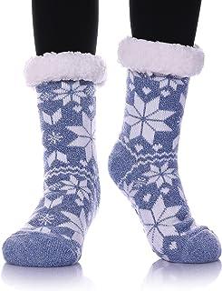 MIUBEAR Womens Thermal Slipper Socks Sherpa Lined Nonskid Fuzzy Cozy Winter Socks