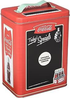 Coca-Cola Coke Decorative Retro Metal Storage Canister w/Chalkboard Labels