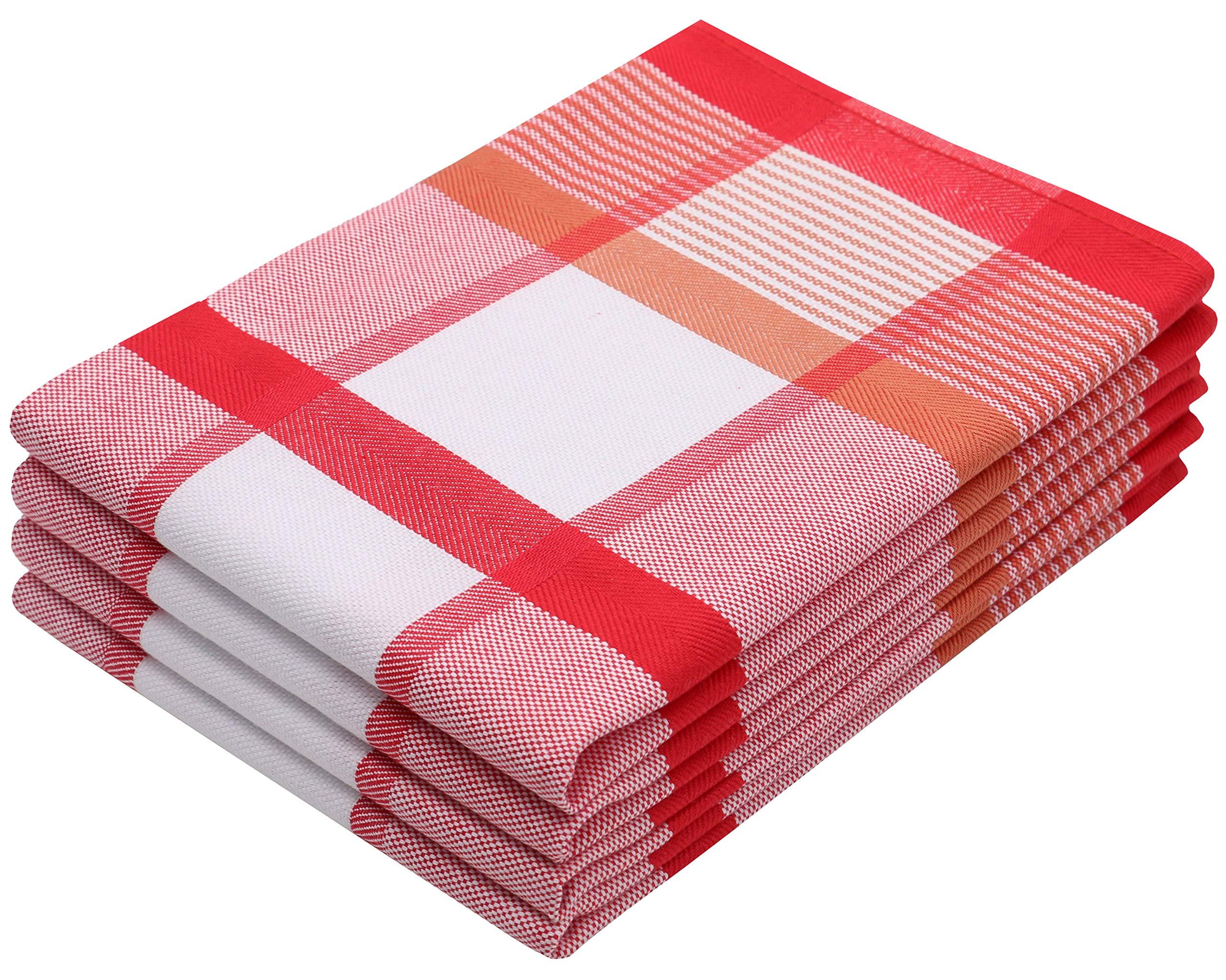 ZOLLNER 4 paños de Cocina algodón 100%, 50x70 cm a Cuadros Rojos: Amazon.es: Hogar