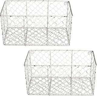 Home Traditions Rustic Farmhouse Vintage Chicken Wire Wall Basket, Set of 2 Small, White