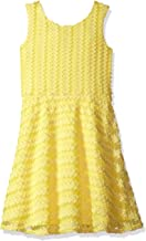 Lavender Girls' Big Lace Stripe Dress with Cross Back Fit and Flare