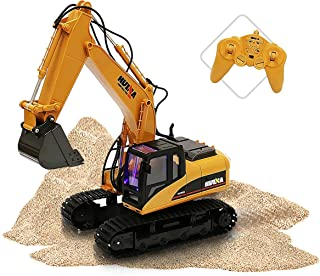 ToyThrill Remote Control Excavator - Fully Functional 15 Channel Die-Cast Construction Tractor - Lights, Sounds, Independently Rotating Workbench, Cab and Metal Shovel