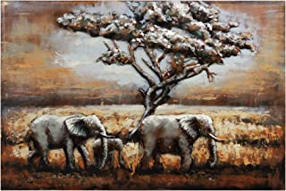 Empire Art Direct Elephants Metal, Hand Painted Primo Mixed Media Iron Sculpture, Decor,Ready to Hang,Living Room, Bedroom & Office 3D Wall Art, 48 in. x 2.0 in. x 32 in, Brown,Tan