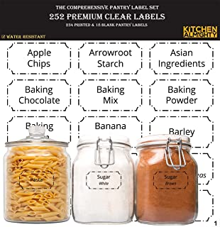 "252 Preprinted 3"" X 1.5"" Clear Pantry Labels Set w/Extra Write-on Stickers for Jars, Bottles, Containers & Canisters - Include an Exclusive Numbered Reference sheet - Water-Resistant"