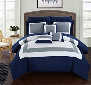 Chic Home CS1469 10 Piece Duke Patchwork Color Block Complete Queen Bed in a Bag..