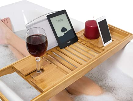 Relux Premium 100% Natural Bamboo Bath Caddy Bridge ? Extendable Luxury Book Rest, Wine Glass Holder, Device (Tablet, Kindle, iPad, Smart Phone) Tray for a Home-Spa Experience ? Fits Most Bath Sizes