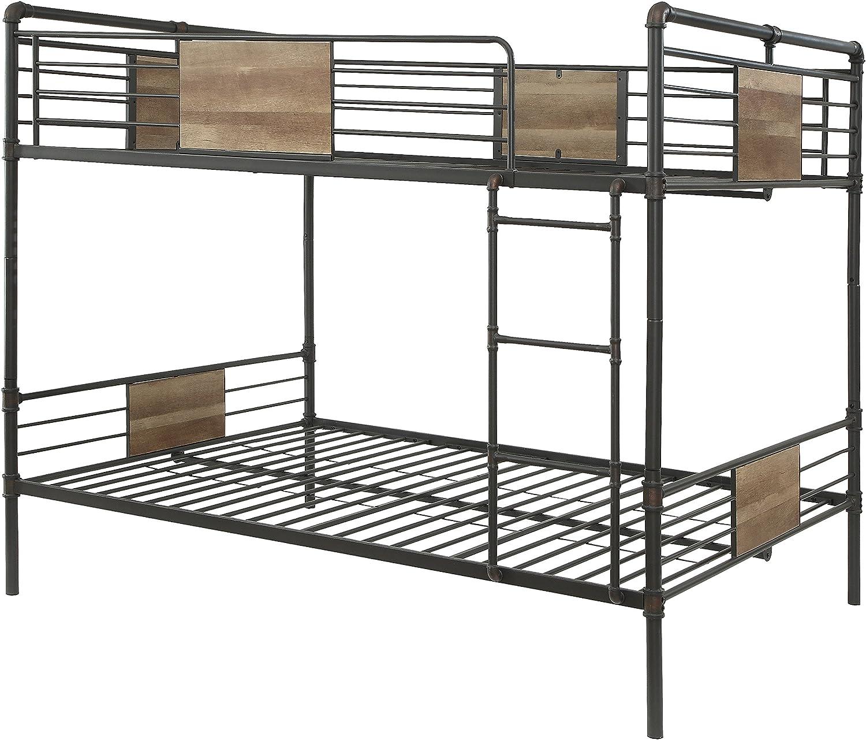 ACME Furniture Brantley Bunk Bed, Sandy Black and Dark Bronze Hand-Brushed, Queen over Queen