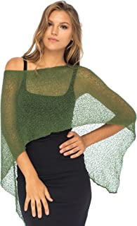 Womens Sheer Poncho Shrug Bolero, Lightweight Summer Shrug Pullover Sweater