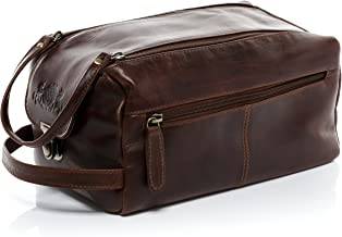 SID & VAIN Real Leather wash Bag Bristol XL Large Travel Overnight Wash Gym Shaving Bag for Men's or Ladies Toiletry Bag Women Men Brown