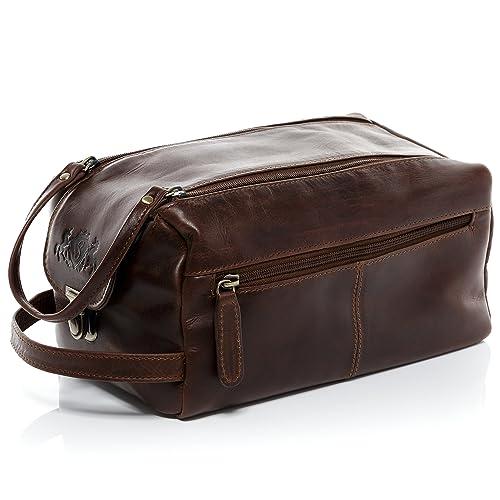 cab0eb53d6 SID   VAIN real leather wash bag BRISTOL XL Travel Overnight Wash Gym  Shaving Bag For