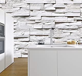 murimage Papel Pintado Piedra 3D 274 x 254 cm Incluye Pegamento Fotomurales Muro Alquería Naturaleza Pared blanco gris sal...