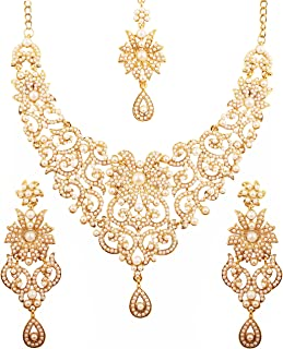 Touchstone Indian Bollywood Traditional Royal Look Attractive Filigree Carving Rhinestone Grand Bridal Designer Jewelry Necklace Set for Women