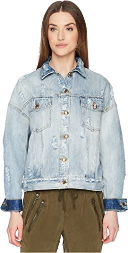 Denim Jacket with Destroyed Effect