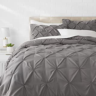 AmazonBasics Pinch Pleat Comforter Bedding Set, King, Dark Grey