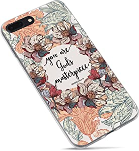 Christian Bible Verses Quotes Case You are God's Masterpiece Soft Flexible Rubber Floral Pattern Protective Case Cover for iPhone 7 Plus and iPhone 8 Plus