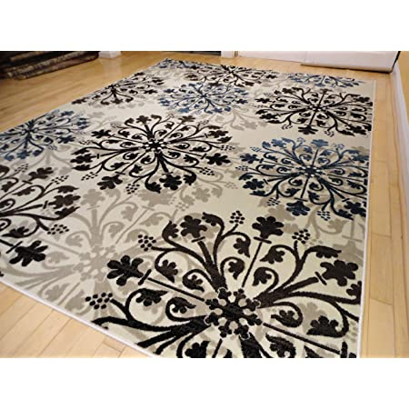 Premium Modern Area Rug Swirls Cream Black Brown Blue Beige Rugs 2x8 Runner Furniture Decor