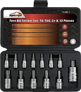 13 Pieces - EPAuto Torx Bit Socket Set, T8-T60, Cr-V