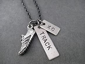 RUN TRACK and XC Track and Cross Country Runner Necklace - Pewter Running Shoe Charm and 2 Hand Hammered, Hand Stamped Nickel Silver Pendants on 18 inch Gunmetal Chain