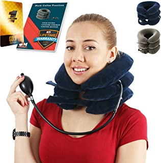 BPC Utilites Cervical Neck Traction Device for Instant Neck Pain Relief [FDA Approved] - Adjustable Neck Stretcher Collar for Home Traction Spine Alignment (Blue)