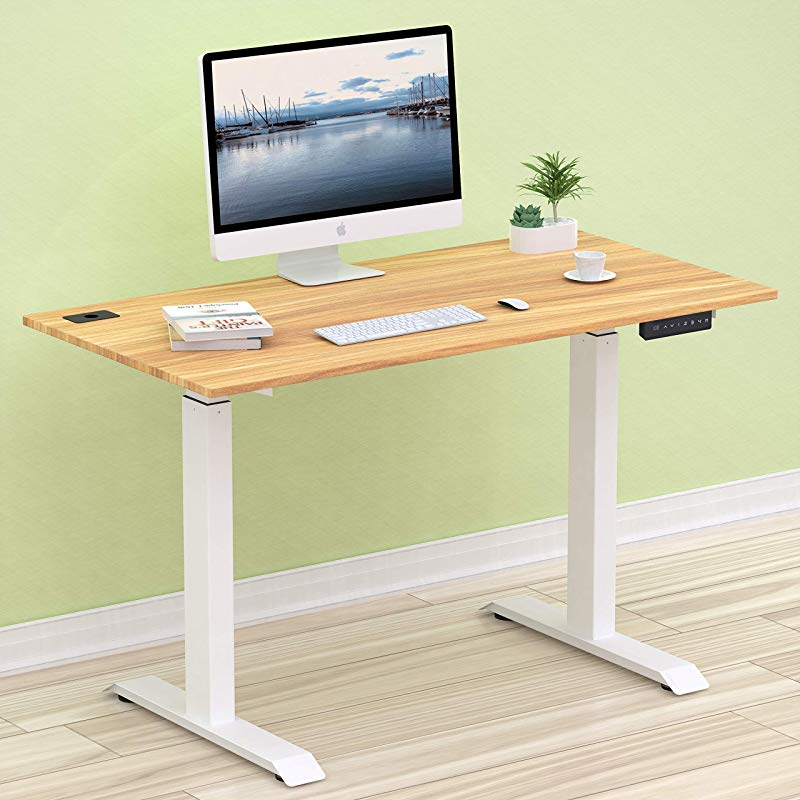 SHW Electric Height Adjustable Computer Desk 48 X 24 Inches Light Cherry