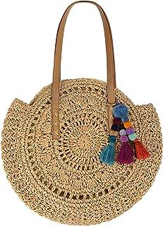 Beach Bag Straw Handbags for Women Natural Chic Large Round Bohemian Shoulder Hand Bag Wallet Purse