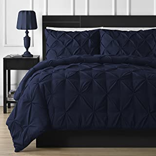 Comfy Bedding 3-Piece Pinch Pleat Comforter Set All Season Pintuck Style Double Needle Durable Stitching, Full, Navy Blue